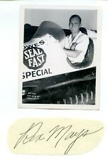 "Authentic Autographed Rex Mays cut + 4 ""x 5"" Photo- Indy 500 Signed"