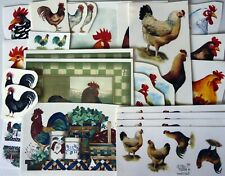 """Lot N 46 pcs Rooster Chicken Fowl 1"""" to 7-1/2"""" Waterslide Ceramic Decals"""