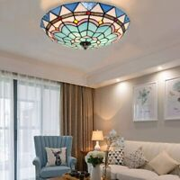 """16"""" Vintage Tiffany Style Ceiling Light Stained Glass Flush Mount Pendant Lamp"""