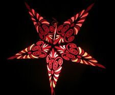 24' Red Swirl Paper Star Hanging Lantern Lamp (Light Cord NOT Included) #14
