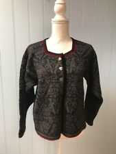 Oleana Pure New Wool Front Heart Shaped Button Cardigan Sweater Size S