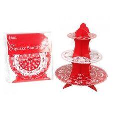 Niveau 3 Noël Rouge Blanc Petits Gâteaux Fée Muffin Présentoir Cupcake