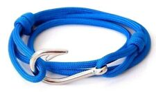 Fish Hook Bracelet Silver Blue Paracord Nautical Men Women Vintage Adjustable
