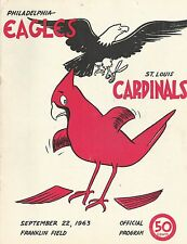 ORIGINAL PROGRAM PHILADELPHIA EAGLES VS ST. LOUIS CARDINALS SEPTEMBER 22,1963
