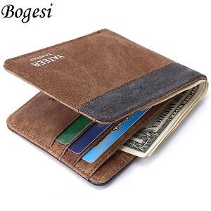 Mens Slim Bifold Canvas Wallet ID Credit Card holder Coin Purse Short Money Clip