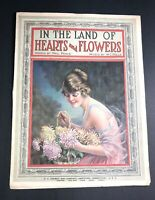 Land Of Hearts & Flowers  1921 Sheet Music Graphic Art Pretty Flapper Girl