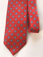 Picardi Napoli 100% silk tie Red with blue and yellow flowers Made in Italy.