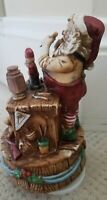 Vintage Music Box Christmas Santa Claus Old Toy Maker 1982 Toy Land Works