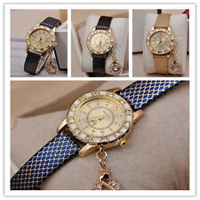Women Girl Dial Quartz Wrist Watch Diamond Crystal Swan Pendant Bracelet Gift S.
