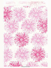 100 Pink Floral Paper Bags, Flat: 5 x 7 inch - Pink Flowers on White Paper, 5x7""