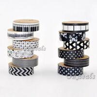 5PCS 1.5cm 10M Black White Washi Tape Craft Scrapbook Adhesive Sticker DIY Decor