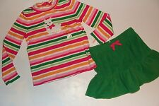 Gymboree Cheery All The Way Girls Size 4T Dog Top 4 Fleece Skirt NWT