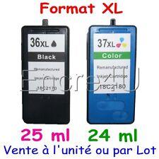 Cartouches d'encre remanufacturées pour Lexmark 36 XL et 37 XL : Noir / Couleurs