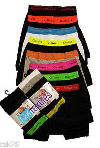 12 Pairs Mens Boxer Shorts Designer Black Fashion Band Underwear. Cotton Rich