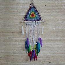Medium Macrame Rainbow Pyramid Dreamcatcher - Dream Catcher Triangle