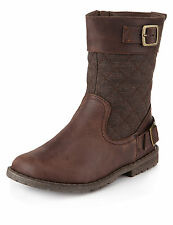 Marks and Spencer Leather Quilted Boots  Size 2(Older Girls)  New