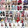 Women Knitted Hat Gloves Set Neck Warm Thicken Pompoms Crochet Beanie Cap Winter