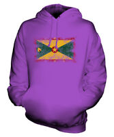 GRENADA DISTRESSED FLAG UNISEX HOODIE TOP GRENADIAN  FOOTBALL JERSEY GIFT