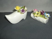 2 Vintage Coalport Bone China Porcelain Mini Flower Figurines Dutch Shoe &  Log