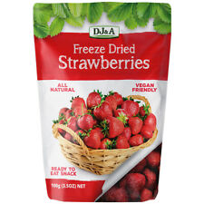 3 x DJ&A FREEZE DRIED STRAWBERRY WHOLE STRAWBERRIES DRY FRUIT VEGAN SNACK 100g