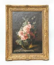 Original Large Masterful Antique Floral Oil Painting S Herrick (19th C) 1800's