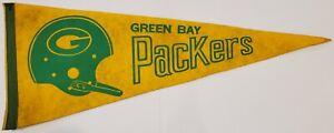 "VINTAGE 1960'S GREEN BAY PACKERS TEAM LOGO NFL FELT 30"" PENNANT RARE"