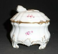 Vintage Nymphenburg Porcelain Hand Painted Covered Trinket Dish Pink Roses