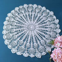 White Vintage Crochet Cotton Lace Doily Round Table Cloth Mat 50-55cm Pineapple