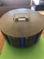 Vintage Poker Chip Set In wooden carousel Holder Case + 2 decks of cards