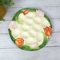 Ceramic Deviled Egg Plate, Hand Painted Floral Design - Perfect for Easter!