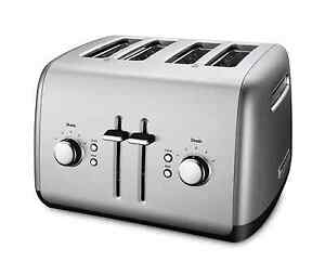 KitchenAid 4-Slice Extra-Wide Slot Metal Toaster w/ Illuminated Buttons, Silver