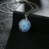 Magical Aqua Blue Silver Filled Filigree Pendant Necklace Glow in the Dark Gift