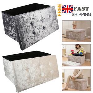 Large Grey Velvet Folding Storage Ottoman Pouffe Seat Foot Stool Storage Boxes