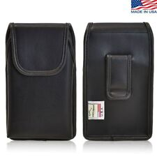 HTC One M8 Vertical Leather Pouch Holster Case Flush Belt Clip Fits Otterbox