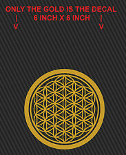 2 Gold 'Flower of Life' Vinyl Decals, Sacred Geometry (6 inch X 6 inch)