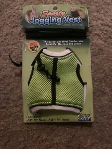 Sporty Jogging Vest Critter Ware Size Large, Small Pet Harness & Leash, Green