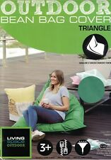 LIVING SPACE OUTDOOR TRIANGLE GREEN BEAN BAG COVER NEW