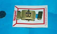 US NAVY OFFICERS GENUINE SOLID BRASS EMBLEMED BUCKLE & END-TIP.