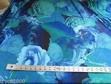 BY THE YARD  POLY  LYCRA 4W STRETCH GREEN/BLUE ROSES PRINT NEW