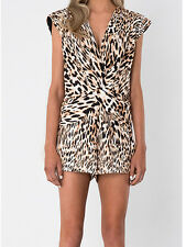 Finders Keepers Fast Lane Black Cream Leopard Print Playsuit Romper S M 8 10 New