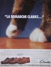 PUBLICITÉ PRESSE 1989 CLARKS CHAUSSURES SUR COUSSIN D'AIR - CHAT - ADVERTISING