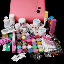 36W UV Lamp Pink & 30 Colors Acrylic Liquid Powder Gel Tip Nail Art Tool Kit Set