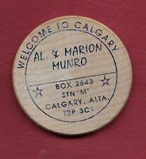 Al & Marion Munro Wooden Nickel - 1985 CNA Convention