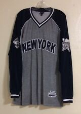Men's New York Embroidered Baseball V-Neck Fleece Pull Over Shirt 2XL