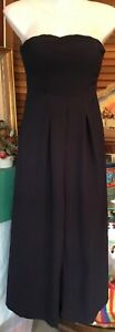 Blossom designer Dark Blue Crepe Strapless Flared 3/4 Length Pantsuit jumpsuit 6
