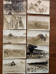 Antique Pendelton Round Up Postcards (10 cards) Indian, cowboy, rodeo, RPPC
