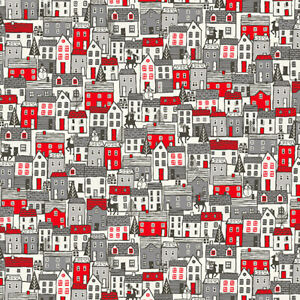 Scandinavian 2020 Town Houses Makower UK Cotton Quilt Fabric TP-2219-Red