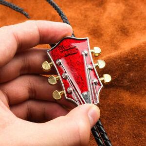 "Red Guitar Head Mens Bolo Tie Wedding Necklace 40"" PU Rope Western Cowboy"
