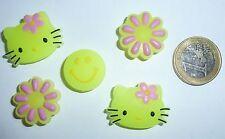 5x Damen Mädchen Smiley Kitty Schuh Charm Clogs Jibbitz* Pin LEUCHTEN Glow NEU