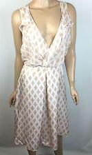 3.1 Phillip Lim Tan-Blush Silk Dress New $550 Sz 0 Sleeveless V Front Ruffled